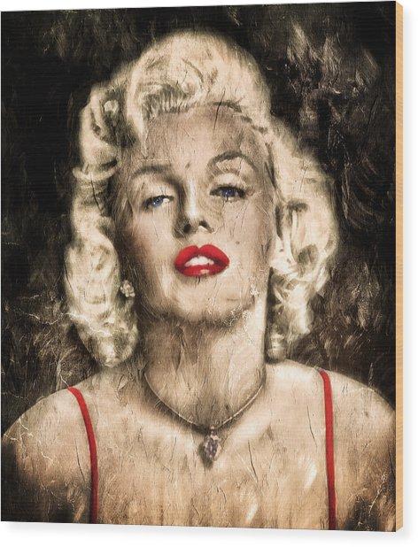 Vintage Grunge Goddess Marilyn Monroe  Wood Print
