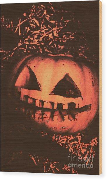 Vintage Horror Pumpkin Head Wood Print