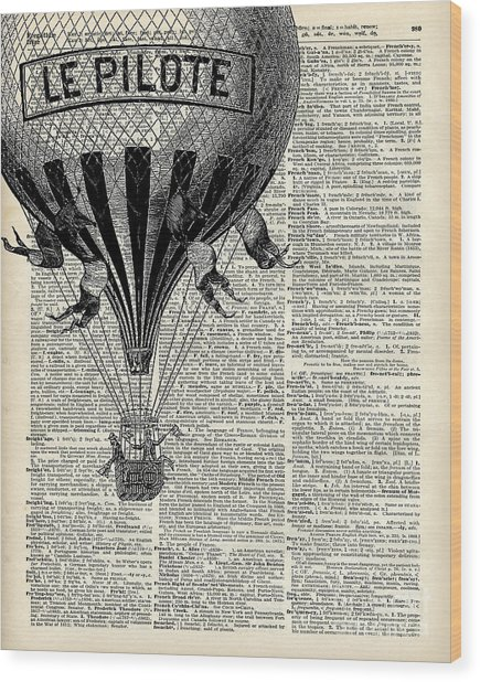 Vintage Hot Air Balloon Illustration,antique Dictionary Book Page Design Wood Print