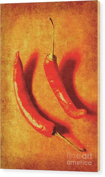 Vintage Hot Curry Peppers Wood Print