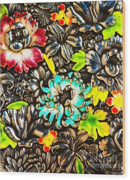 Vintage Japanese Panel With Lilies Chrysanthemums And Peonies Wood Print
