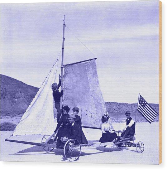 Vintage Ladies And Gentlemen Sail On The Desert Queen Wood Print