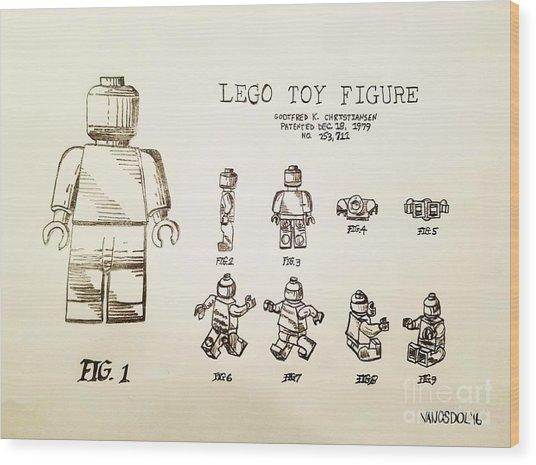 Vintage Lego Toy Figure Patent - Graphite Pencil Sketch Wood Print