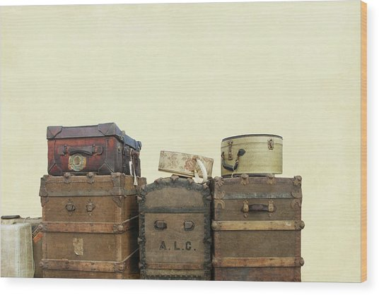 Steamer Trunks And Vintage Luggage Wood Print
