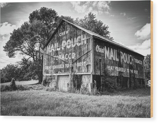 Vintage Mail Pouch Tobacco Barn - Black And White Edition Wood Print