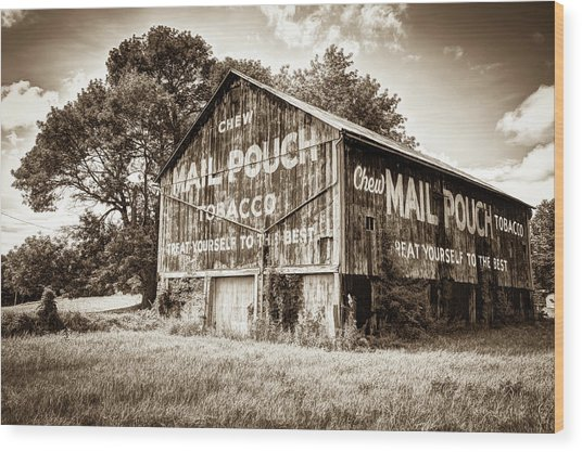 Vintage Mail Pouch Tobacco Barn - Sepia Edition Wood Print