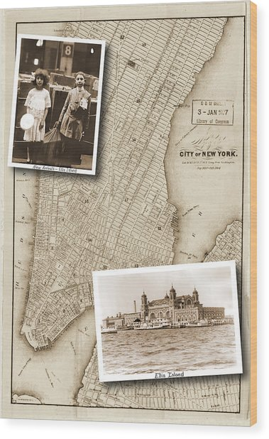 Vintage Map Ellis Island Immigrants Wood Print
