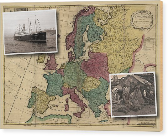 Vintage Map Europe Immigrants Wood Print