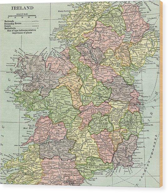 Vintage Map Ireland Wood Print