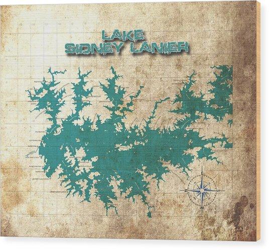 Vintage Map - Sidney Lanier Ga Wood Print