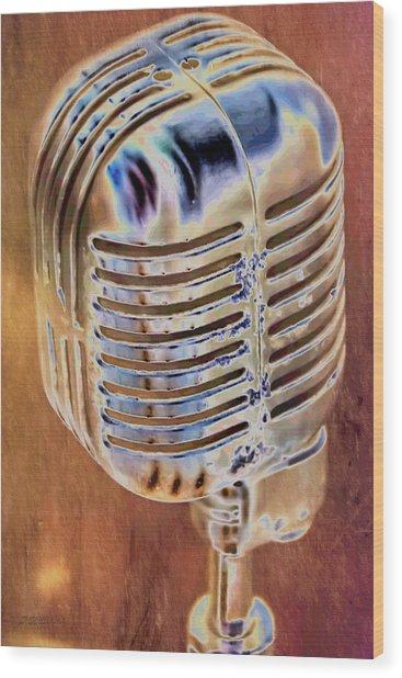 Vintage Microphone Wood Print