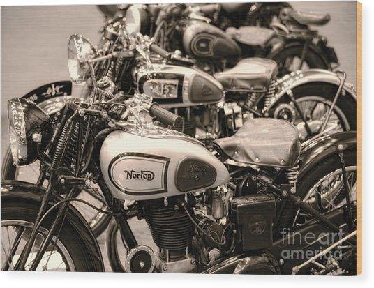 Vintage Motorcycles Wood Print