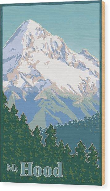 Vintage Mount Hood Travel Poster Wood Print