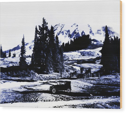 Vintage Mount Rainier With Antique Car Early 1900 Era... Wood Print
