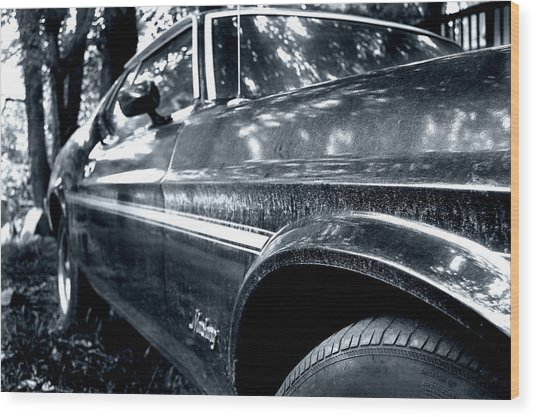 Vintage Mustang Wood Print by Heather S Huston