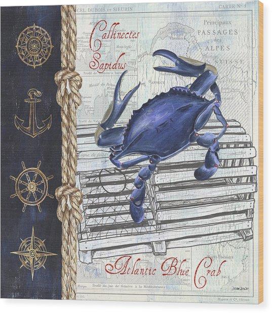 Vintage Nautical Crab Wood Print