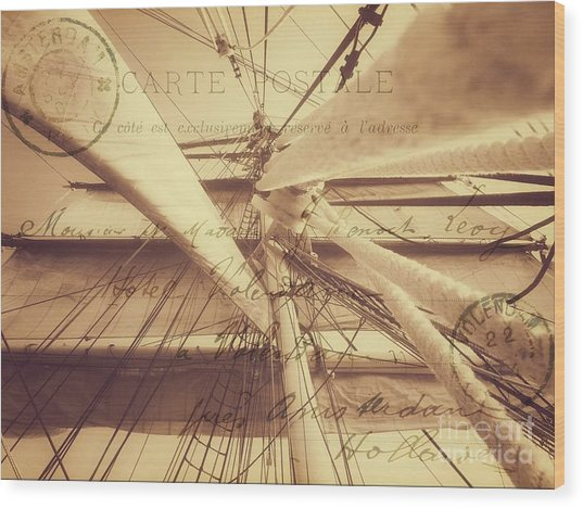 Vintage Nautical Sailing Typography In Sepia Wood Print