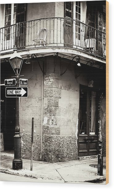 Vintage New Orleans French Quarter Wood Print