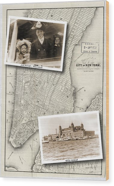 Vintage New York Map With Ellis Island Wood Print