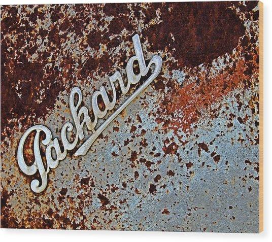 Vintage Packard Emblem Wood Print
