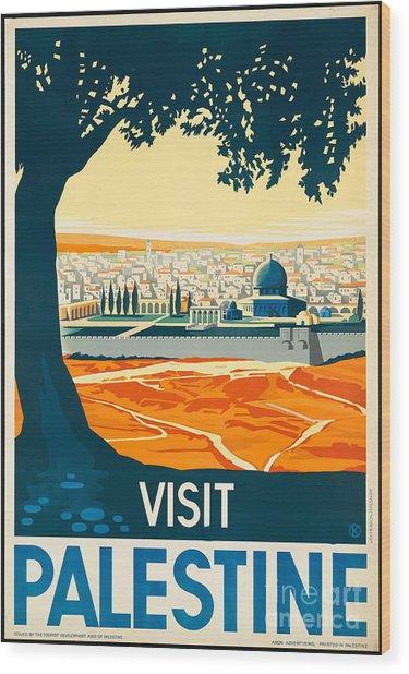 Vintage Palestine Travel Poster Wood Print