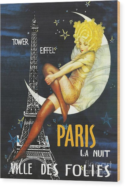 Vintage Paris Moon Wood Print
