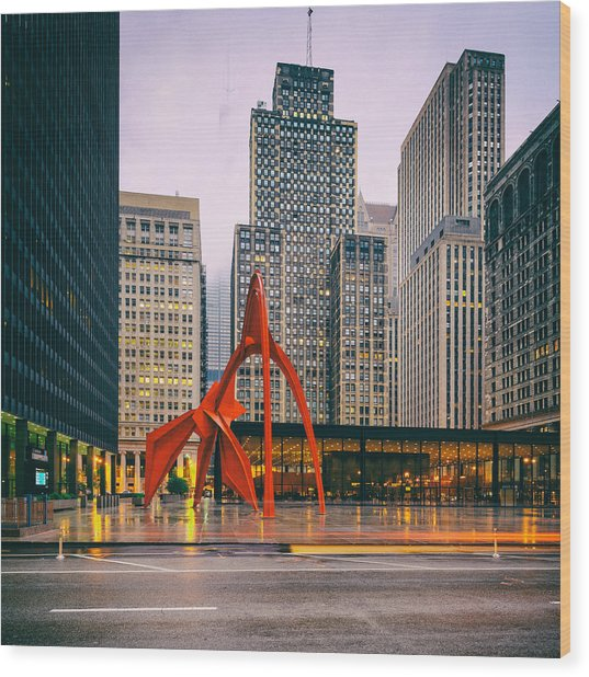 Vintage Photo Of Alexander Calder Flamingo Sculpture Federal Plaza Building - Chicago Illinois  Wood Print