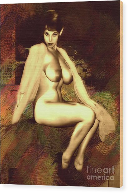 Vintage Pinup By Mb Wood Print