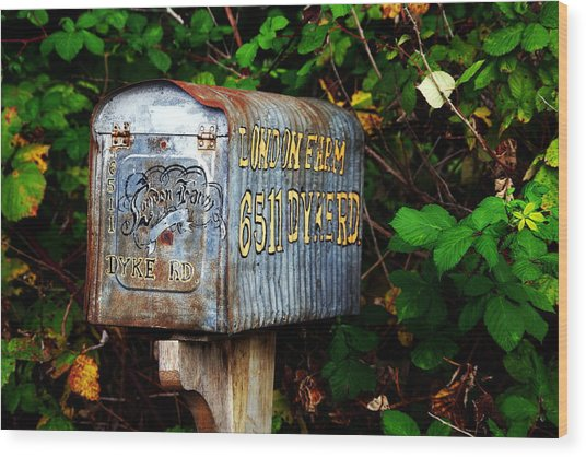 Vintage Postbox Wood Print by Ming Yeung