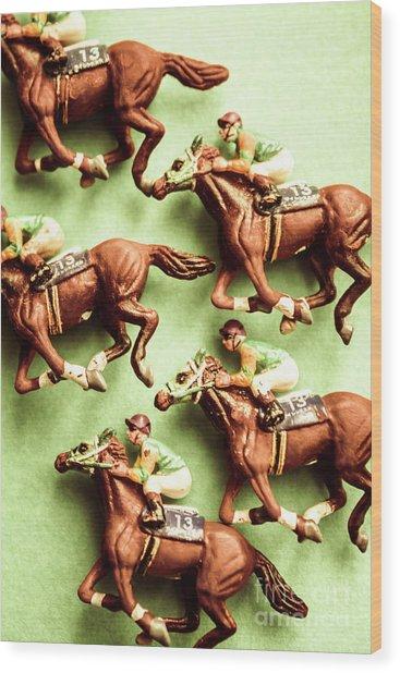 Vintage Racehorse Art Wood Print