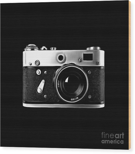 Wood Print featuring the digital art Vintage Rangefinder Film Camera by Edward Fielding