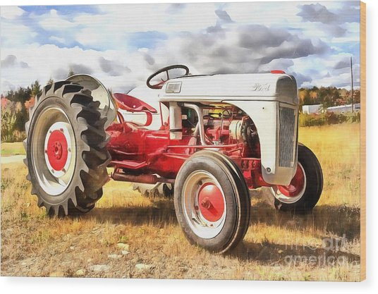 Vintage Red And White Ford Farm Tractor Painting Wood Print