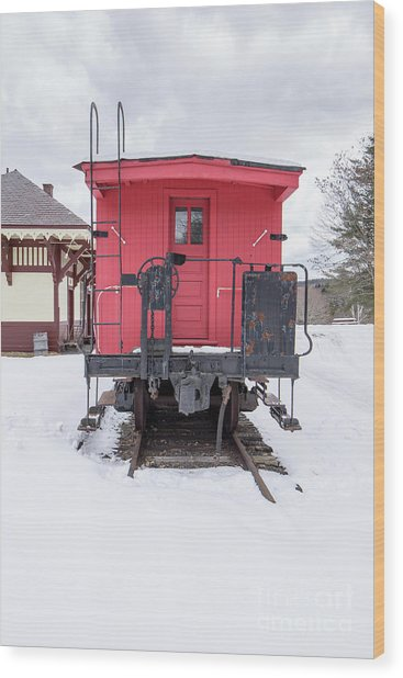 Wood Print featuring the photograph Vintage Red Caboose In The Snow by Edward Fielding