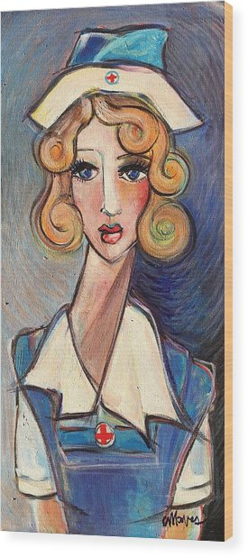 Wood Print featuring the painting Vintage Red Cross Nurse by Laurie Maves ART