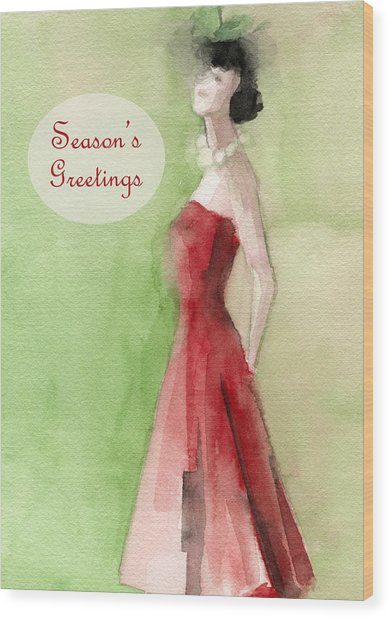 Vintage Red Dress Fashion Holiday Card Wood Print