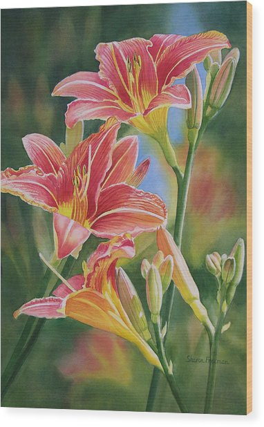 Vintage Red Orange Lilies Wood Print