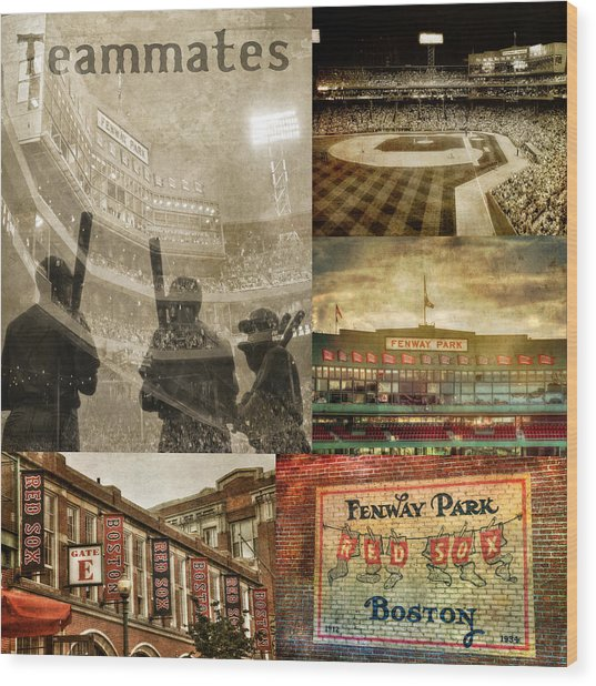 Vintage Red Sox Fenway Park Baseball Collage Wood Print