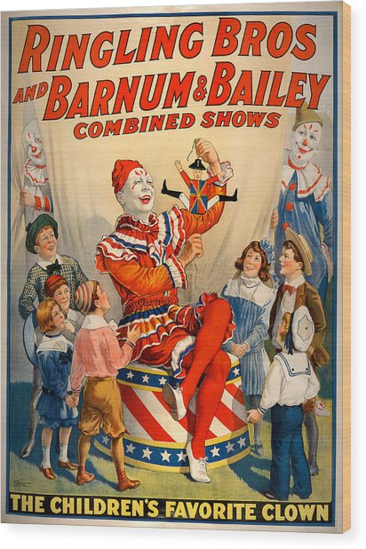 Vintage Ringling Brothers And Barnum And Bailey Combined Circus Wood Print