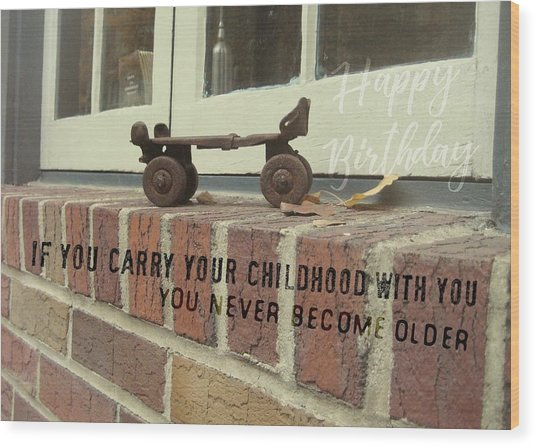 Vintage Roller Skate Quote Wood Print by JAMART Photography