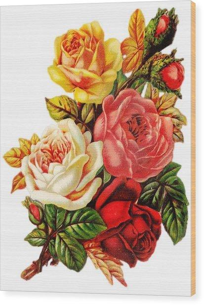 Vintage Rose I Wood Print