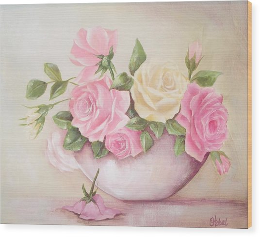 Vintage Roses Shabby Chic Roses Painting Print Wood Print
