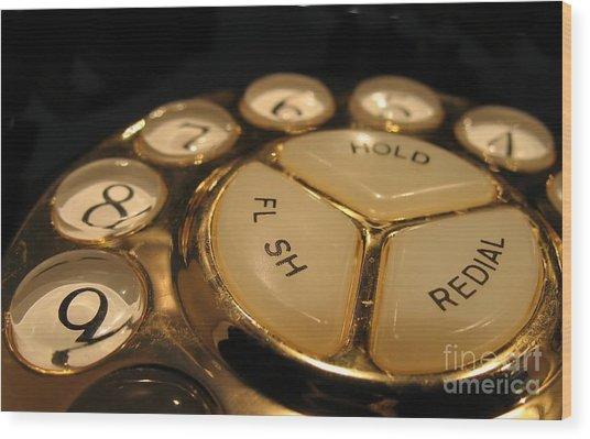 Vintage Rotary Dial Phone Wood Print