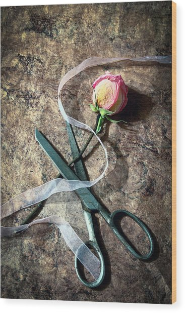 Vintage Scissors, Dried Pink Rose And Ribbon Wood Print