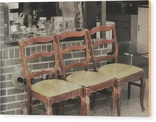 Vintage Seating Wood Print by JAMART Photography