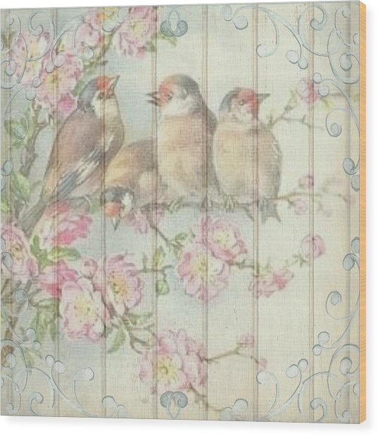 Vintage Shabby Chic Floral Faded Birds Design Wood Print