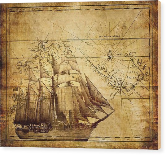 Vintage Ship Map Wood Print