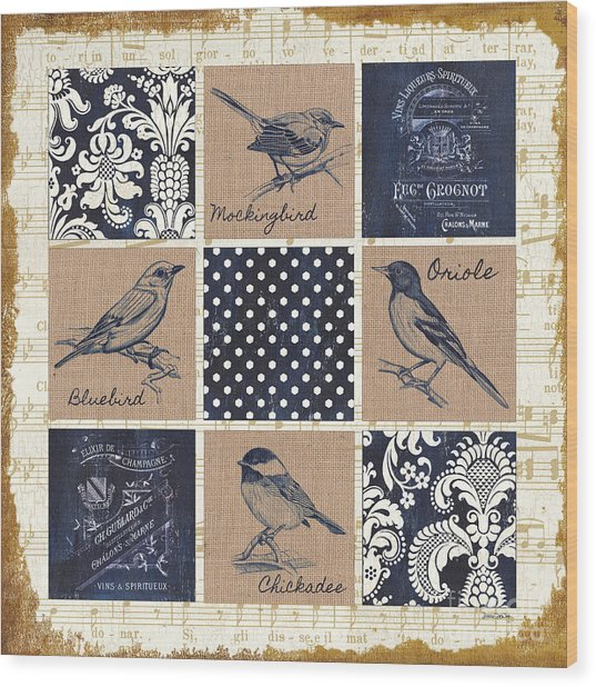 Vintage Songbird Patch 2 Wood Print