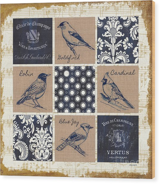 Vintage Songbirds Patch Wood Print