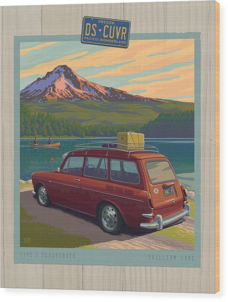 Vintage Squareback At Trillium Lake Wood Print