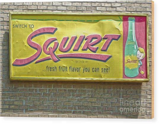 Vintage Squirt Sign Wood Print